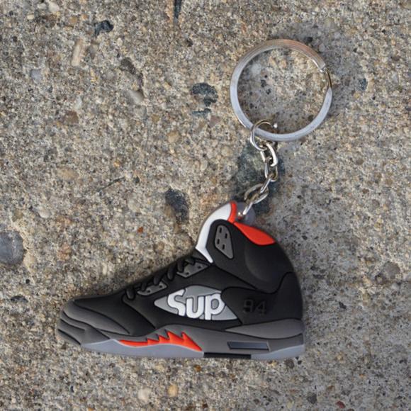 Nike Jordan Retro 5 Supreme Black Shoe Keychain